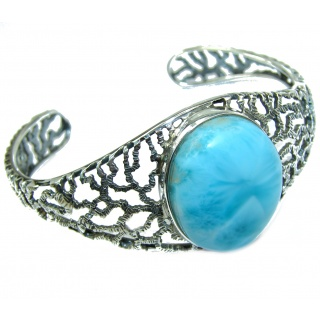 HUGE Perfect Harmony Blue Larimar .925 Sterling Silver handcrafted Bracelet / Cuff