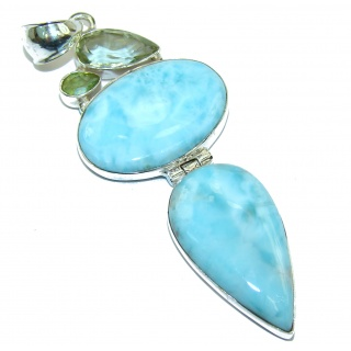 FABULOUS quality Natural Larimar .925 Sterling Silver handcrafted pendant