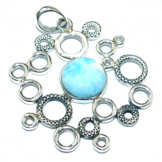 Treasure of Caribbean Sea Larimar .925 Sterling Silver handmade pendant