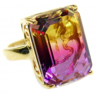 Genuine 25ct Ametrine 18K Gold over .925 Sterling Silver handcrafted ring; s. 6 3/4