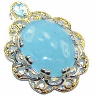 Genuine 58 ct Aquamarine 18K Gold over .925 Sterling Silver handmade Pendant
