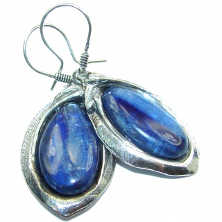 Large authentic Kyanite .925 Sterling Silver handcrafted earrings