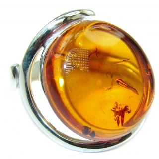 LARGE Authentic Baltic Amber .925 Sterling Silver handcrafted ring; s 8 adjustable