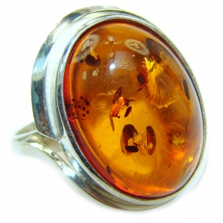 Excellent Brown Amber Sterling Silver Ring s. 7 3/4