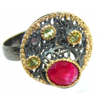 Large genuine Ruby 18K Gold over .925 Sterling Silver Statement Italy made ring; s. 6 adjustable