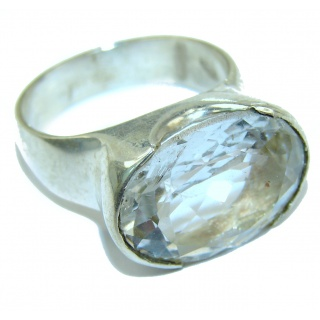 Huge White Topaz Sterling Silver ring; s. 6 1/4