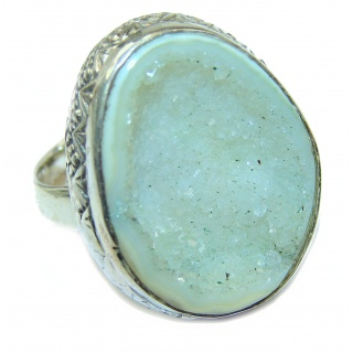 Exotic Druzy Agate Sterling Silver Ring s. 7