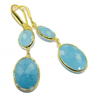 Fancy Style genuine Aquamarine 18K Gold over .925 Sterling Silver handmade earrings
