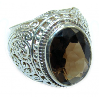 Authentic Smoky Topaz .925 Sterling Silver handcrafted ring; s 6