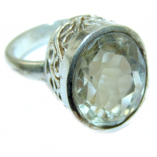Huge Natural Green Amethyst .925 Sterling Silver handmade Cocktail Ring s. 7