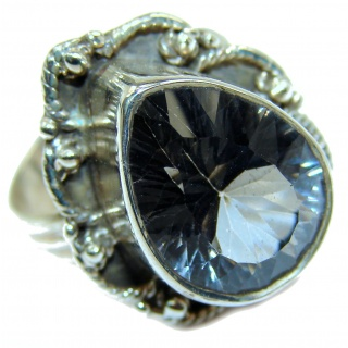 Huge Exotic Magic Topaz .925 Sterling Silver handcrafted Ring s. 7 1/4