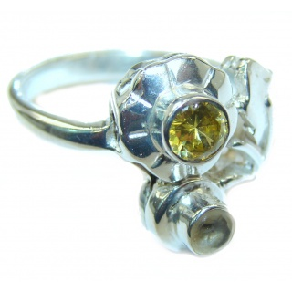 Energizing genuine Peridot .925 Sterling Silver handcrafted Ring size 8