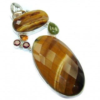 Incredible quality faceted Golden Tigers Eye .925 Sterling Silver handmade Pendant
