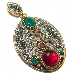 Victorian Style created Ruby Two tones .925 Sterling Silver handcrafted Pendant