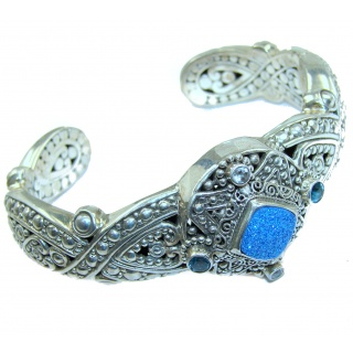 Bali Made Sky Blue Druzy .925 Sterling Silver handcrafted Bracelet / Cuff