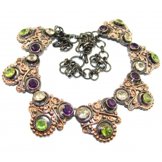 Huge Artisan MasterPiece genuine Amethyst Rose Gold over .925 Silver handcrafted Necklace