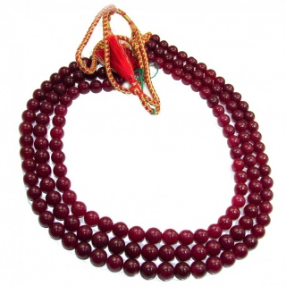 Huge Incredible Ruby Beads 3 Strands Necklace 16-18 inches necklace