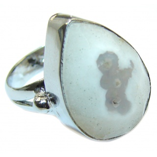 Exotic Druzy Agate Sterling Silver Ring s. 6