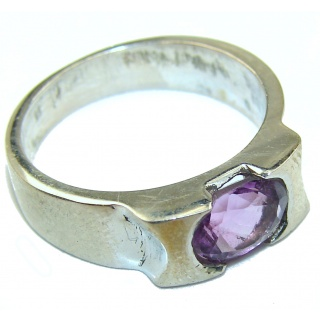 Spectacular genuine Amethyst .925 Sterling Silver handcrafted Ring size 8