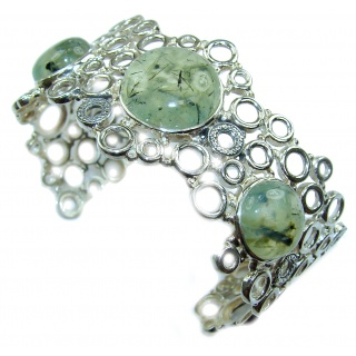 Great Design Genuine Moss Prehnite .925 Sterling Silver handcrafted Bracelet / Cuff