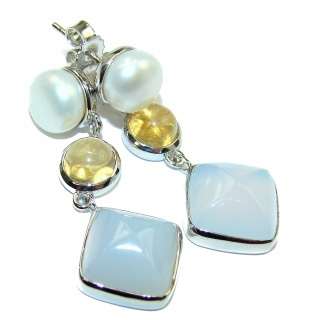 Sublime Blue Chalcedony Agate .925 Sterling Silver handmade earrings