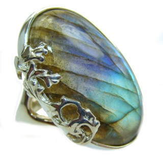 Regal Infinity Labradorite .925 Sterling Silver handmade ring size 6 1/4