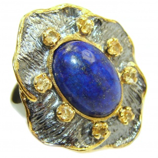 Natural Lapis Lazuli 18K Gold over .925 Sterling Silver handcrafted ring size 7 adjustable