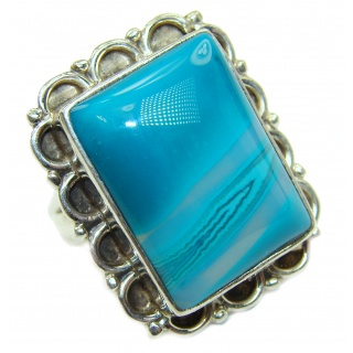 Natural Botswana Agate .925 Sterling Silver handcrafted ring size 8