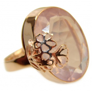 Authentic faceted Rose Quartz 18K Gold over .925 Sterling Silver handcrafted ring s. 8 adjustable