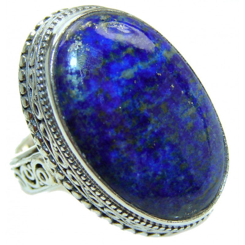 Natural Lapis Lazuli .925 Sterling Silver handcrafted ring size 6 1/4