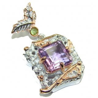 Perfect Green Amethyst Rose Gold over .925 Sterling Silver handmade pendant