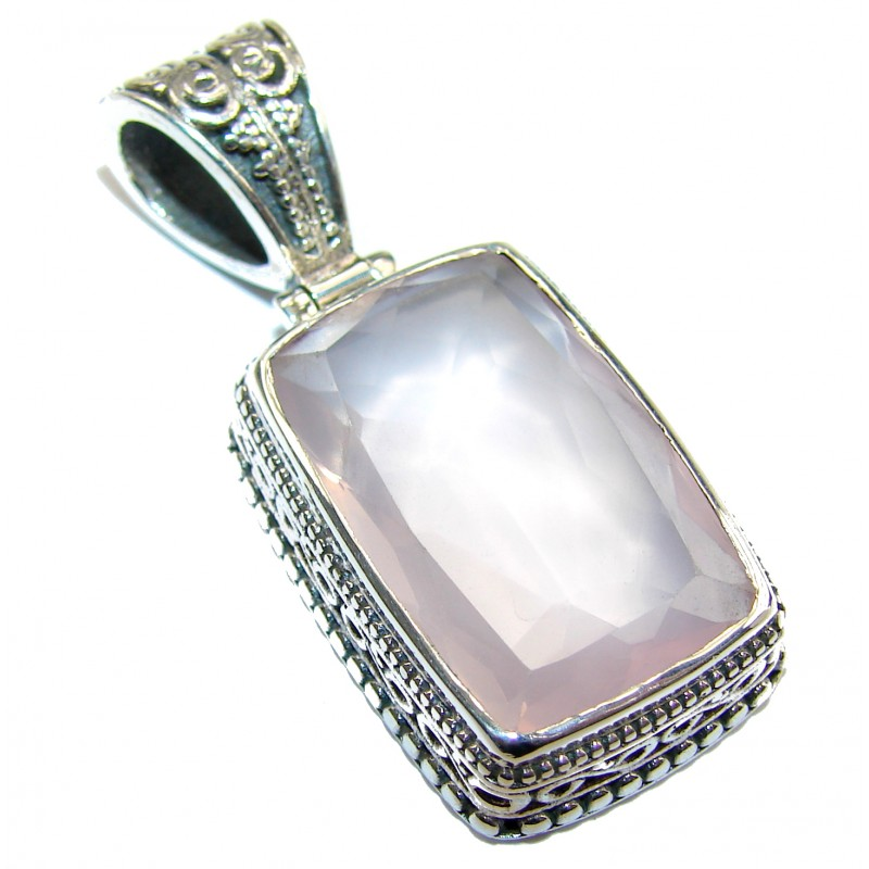 Large Baguette cut 55ct Rose Quartz .925 Sterling Silver handcrafted Pendant