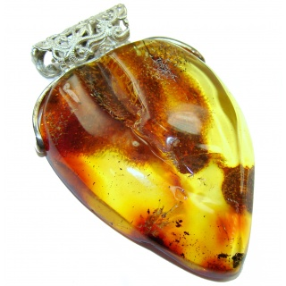 LARGE Beautiful Natural Baltic Amber .925 Sterling Silver handmade Pendant