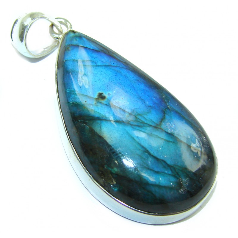 Incredible 60ct Fire Labradorite .925 Sterling Silver handmade Pendant