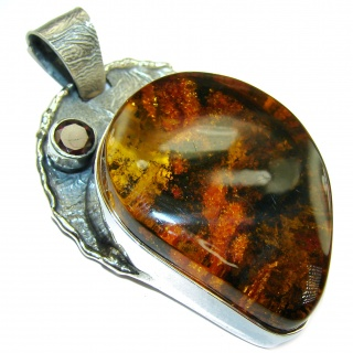 LARGE Natural Baltic Amber oxidized .925 Sterling Silver handmade Pendant