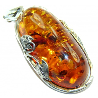Beautiful Natural Baltic Amber .925 Sterling Silver handmade Pendant