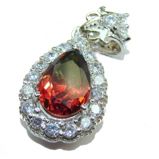Deluxe pear cut Pink Tourmaline .925 Sterling Silver handmade Pendant