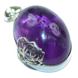 Her Majesty Natural 68 ct Amethyst .925 Sterling Silver handmade Pendant