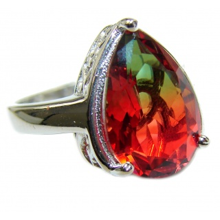 Genuine 25ct Tourmaline .925 Sterling Silver handcrafted ring; s. 6 3/4