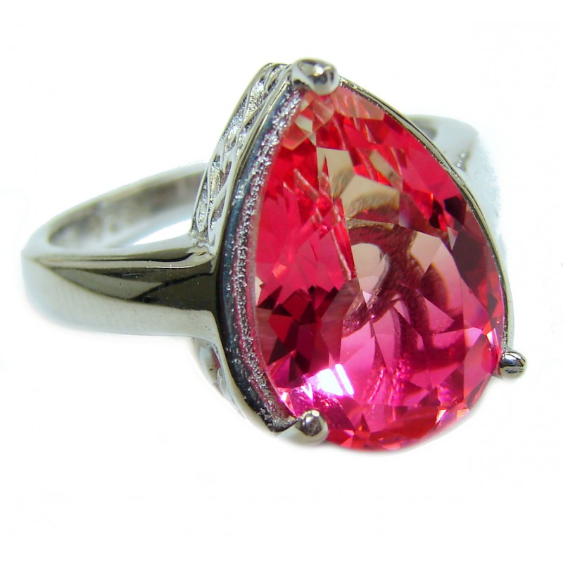 Genuine 25ct Pink Tourmaline .925 Sterling Silver handcrafted ring; s. 7 1/2