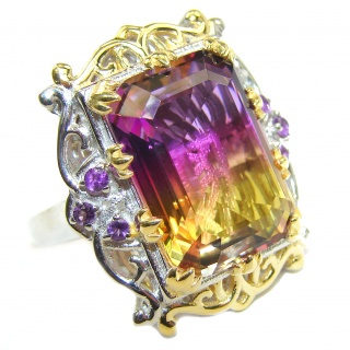 HUGE Emerald cut Ametrine .925 Sterling Silver handcrafted Ring s. 8