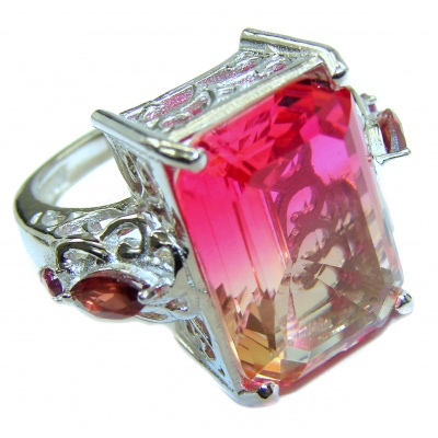 HUGE emerald cut Volcanic Pink Tourmaline Topaz .925 Sterling Silver handcrafted Ring s. 6 1/4