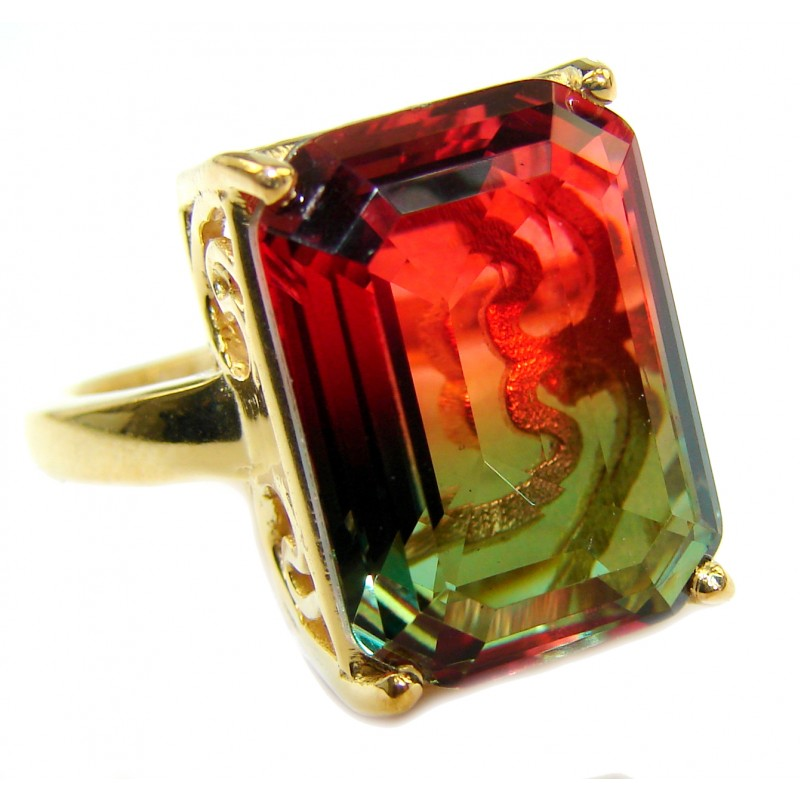 HUGE Top Quality Magic Volcanic Tourmaline color Topaz .925 Sterling Silver handcrafted Ring s. 8 1/4