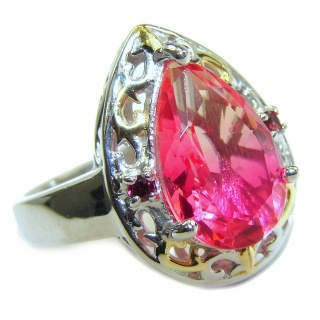 Genuine 25ct Pink Tourmaline .925 Sterling Silver handcrafted ring; s. 8 1/2