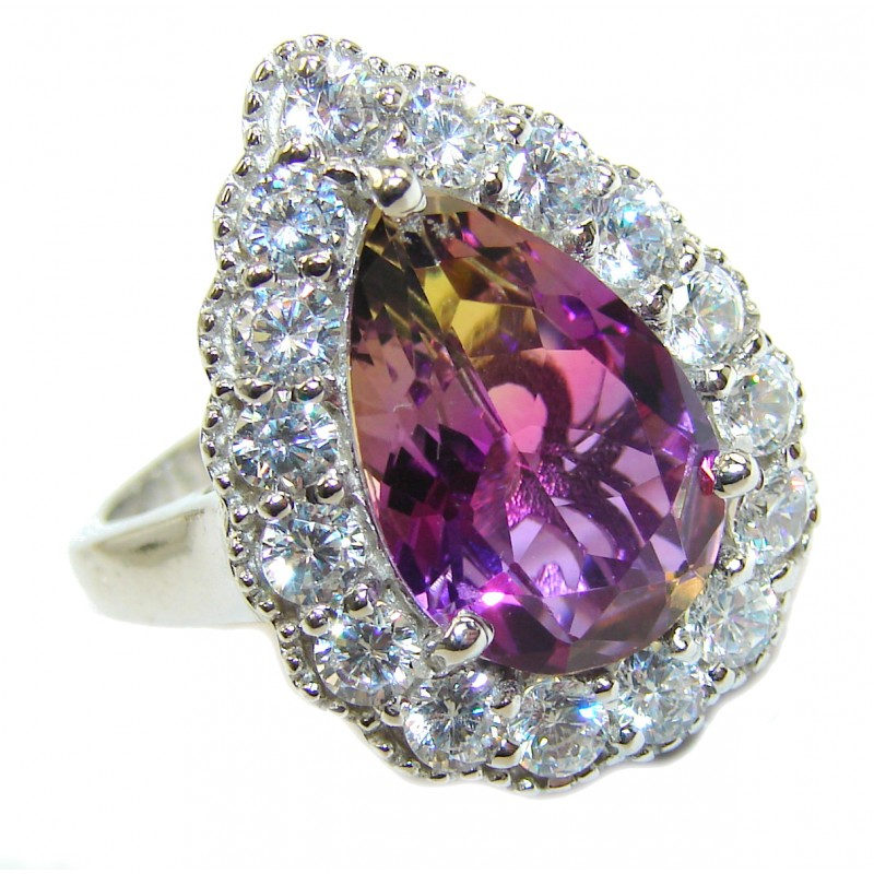 HUGE pear cut Ametrine .925 Sterling Silver handcrafted Ring s. 9