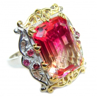 HUGE Emerald cut Pink Topaz .925 Sterling Silver handcrafted Ring s. 9