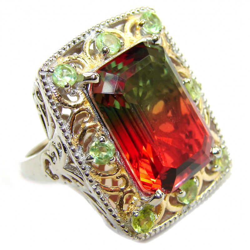 HUGE Emerald cut Watermelon Tourmaline color Topaz 18 K Gold over .925 Sterling Silver handcrafted Ring s. 7 3/4