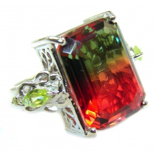 HUGE Top Quality Magic Volcanic Pink Tourmaline Topaz .925 Sterling Silver handcrafted Ring s. 7 1/4