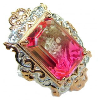 Huge Top Quality Volcanic Pink Tourmaline color Topaz .925 Sterling Silver handcrafted Ring s. 6 3/4