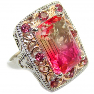 HUGE Emerald cut Pink Topaz 18K Gold over .925 Sterling Silver handcrafted Ring s. 8 1/4